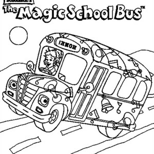 a funny school bus at the stop sign coloring page a funny school