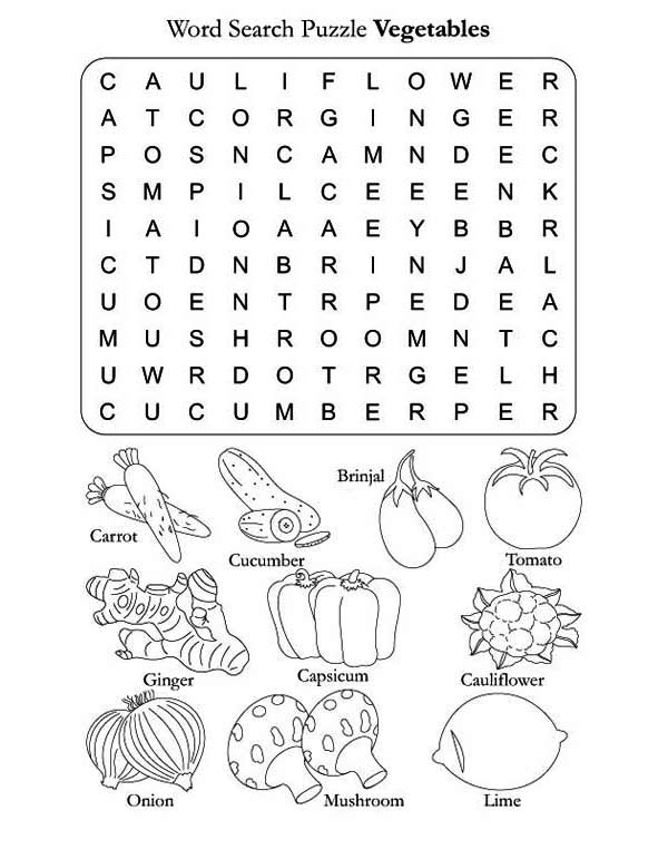 and vegetables word search sheet for vegetables coloring page