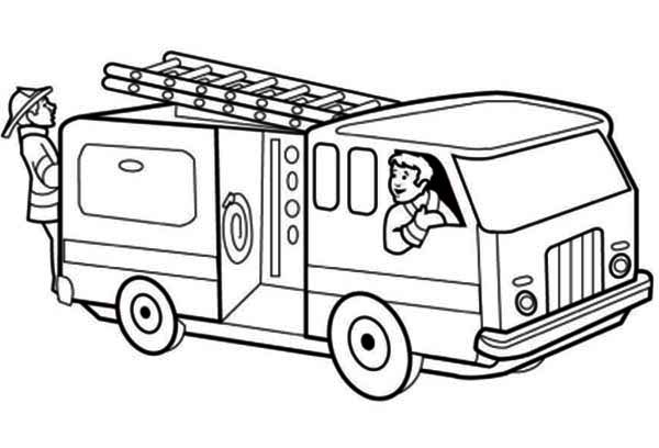 trucks fire truck getting ready on emergency call coloring page jpg