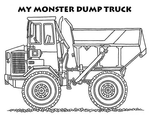 monster dump truck coloring page kids play color