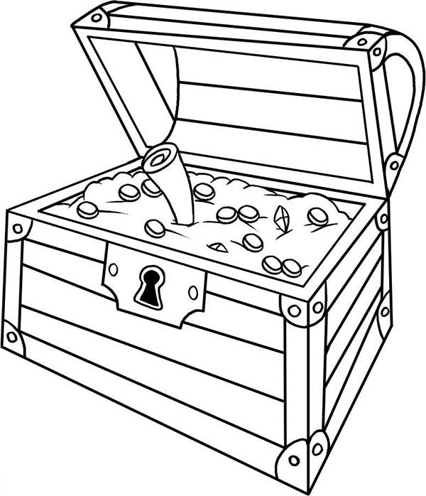 an opened treasure chest with a treasure map inside coloring page