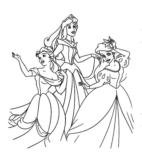belle ariel and princess aurora on disney princesses coloring
