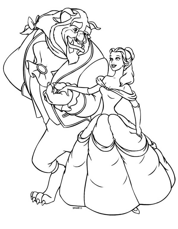princesses belle and the beast on disney princesses coloring page