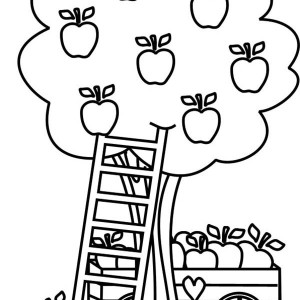 boy eating apple up an apple tree coloring page kids play color