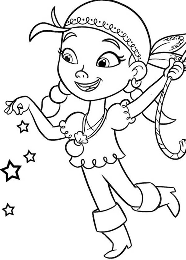 izzy use her pixie dust given by tinker bell coloring page kids