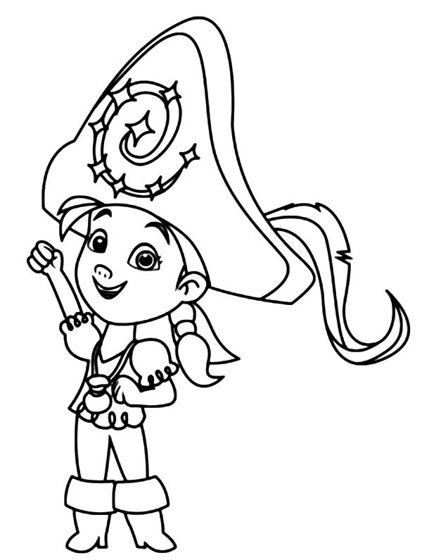 izzy wearing a big captain hat coloring page kids play color
