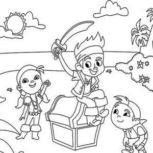 jake and the neverland pirates having party on the beach coloring
