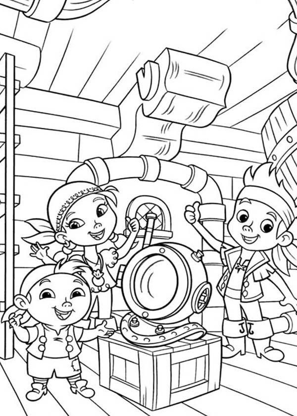 jake izzy and chubby found an old dive helmet coloring page kids