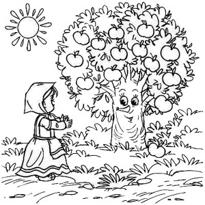 a boy and his apple tree coloring page kids play color