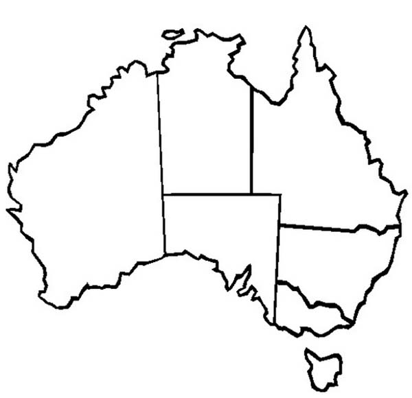 the map of australia and its states for australia day coloring page