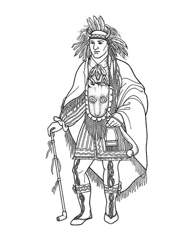 awesome native american chief poster coloring page kids play color