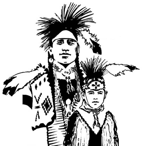 chief native american and his son coloring page kids play color