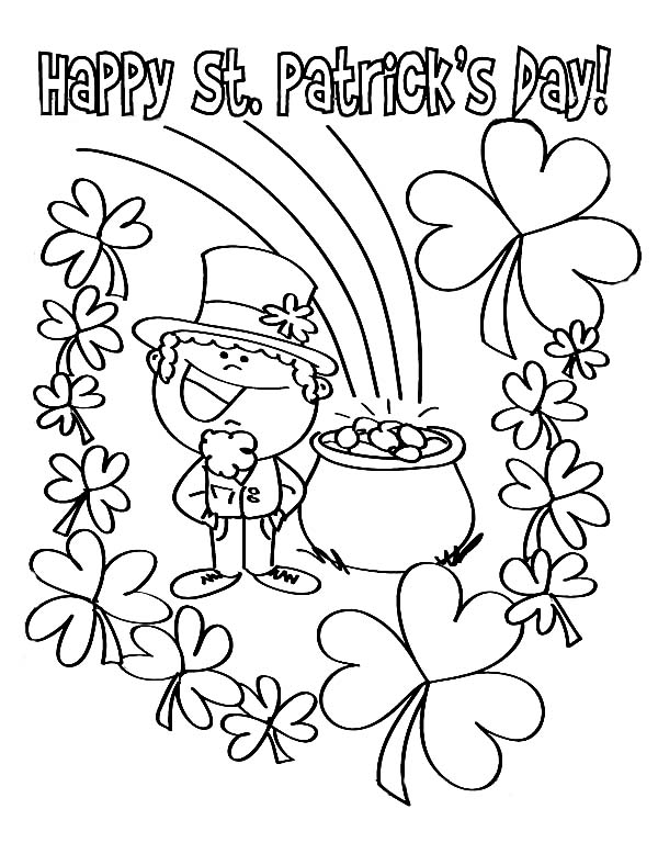 finding pot of gold on st patricks day coloring page kids play color