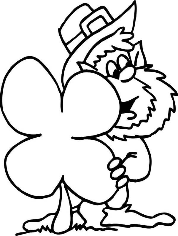 hidding behind giant four leaf clover coloring page kids play color