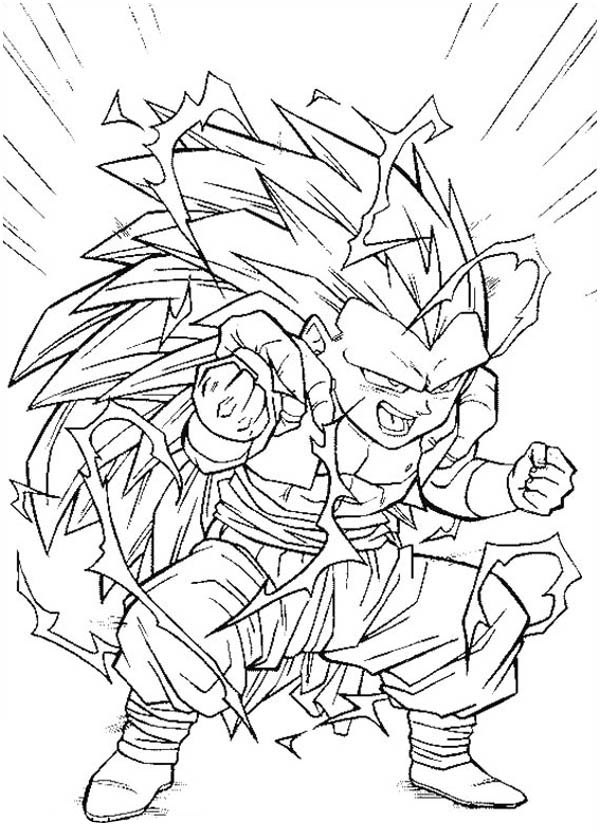 super saiyan 3 form in dragon ball z coloring page kids play color