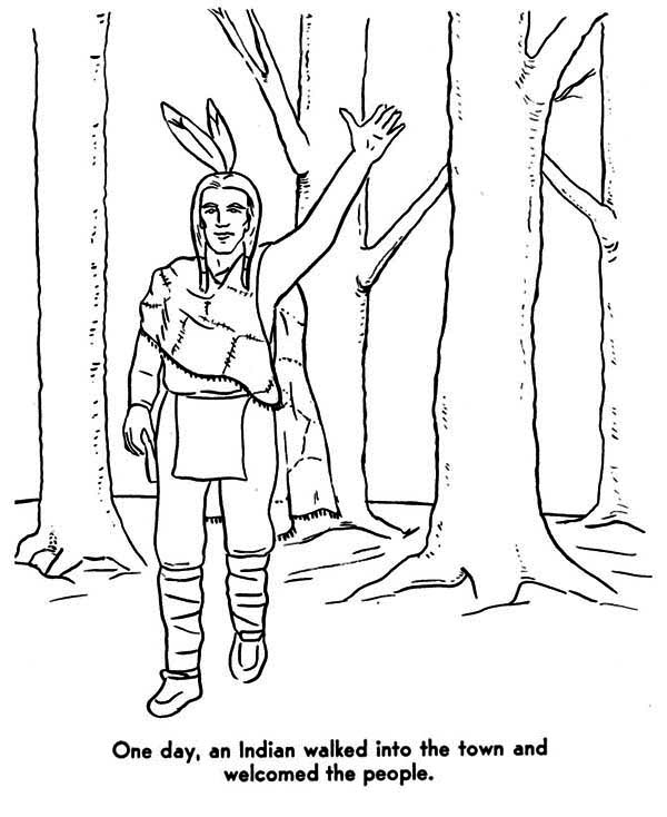 native american welcoming people coloring page kids play color