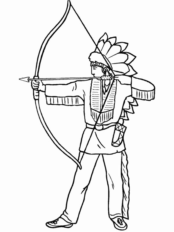 native american is firing shortbow coloring page kids play color
