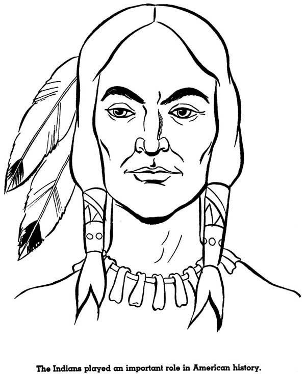 potrait of native american coloring page kids play color