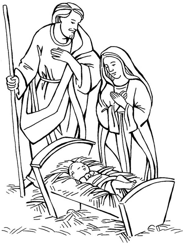 baby jesus shepherd and mary adore baby jesus coloring page