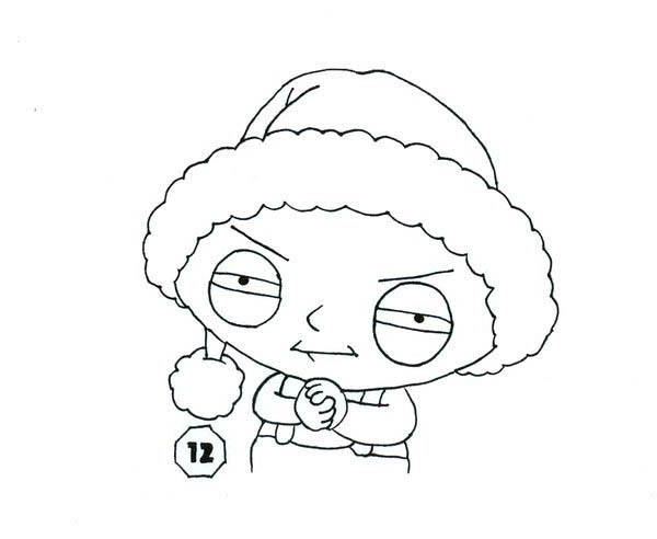 stewie wearing santa hat in family guy coloring page kids play color
