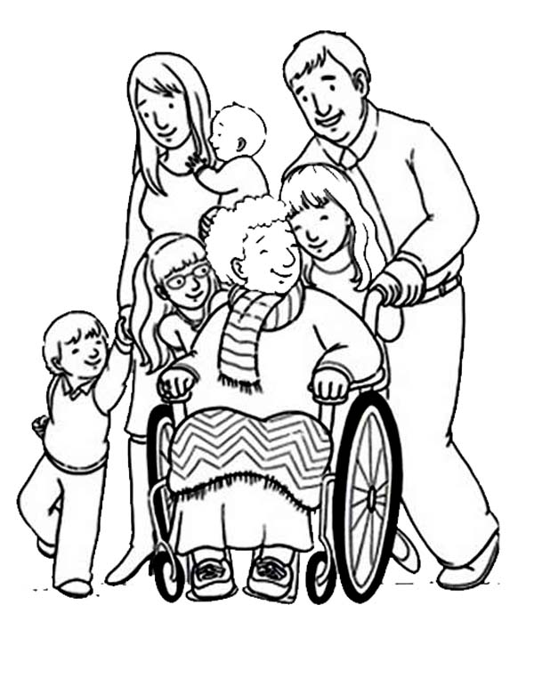 supporting people with disability coloring page kids play color