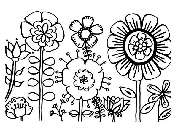 various type of flower coloring page kids play color