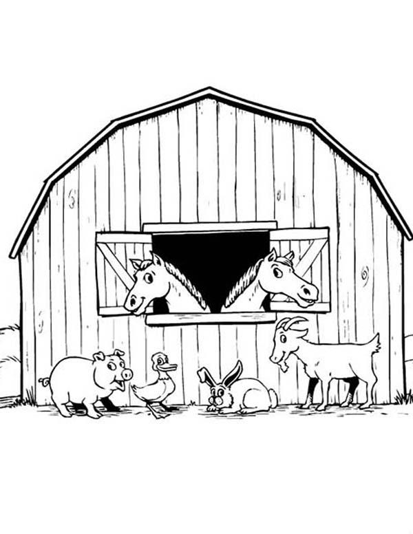 animal barnyard on farm animal coloring page kids play color