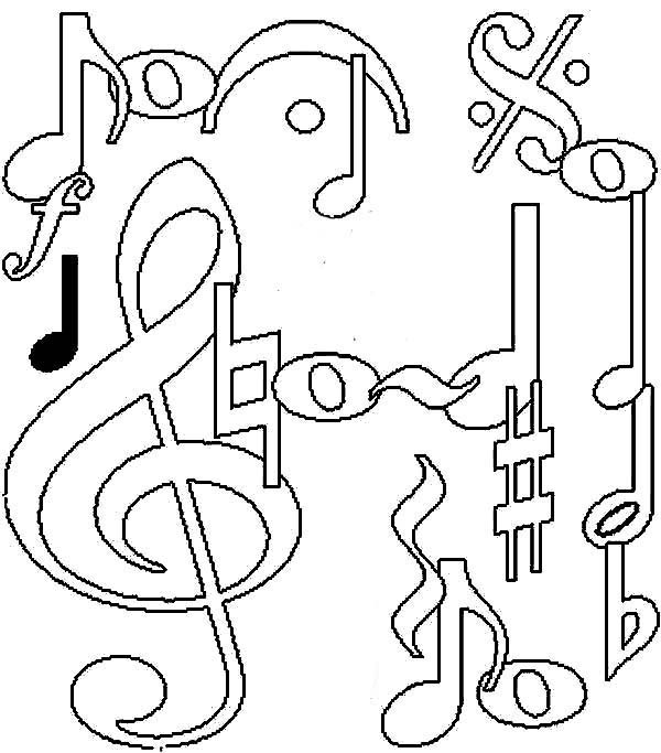 awesome music notes coloring page kids play color