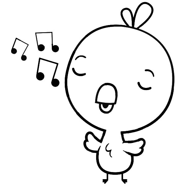 baby chick singing coloring page kids play color