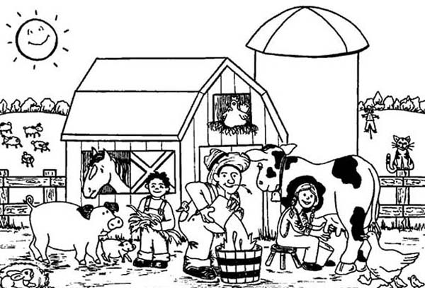 giving the animal drink on farm animal coloring page kids play color
