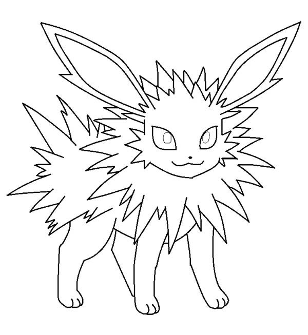 jolteon is smiling coloring page kids play color