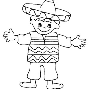 little mexican boy in mexican fiesta coloring page little mexican