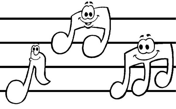 music notes sheet music with music notes coloring page