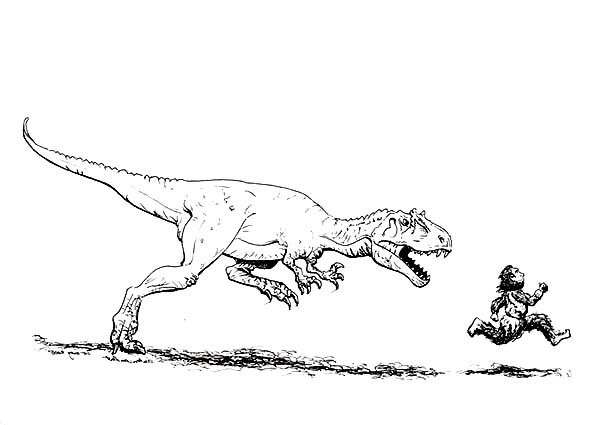 the neander attacked by allosaurus coloring page kids play color