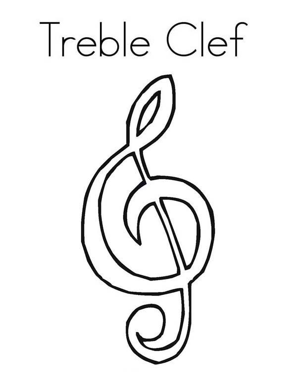 treble clef music notes coloring page kids play color