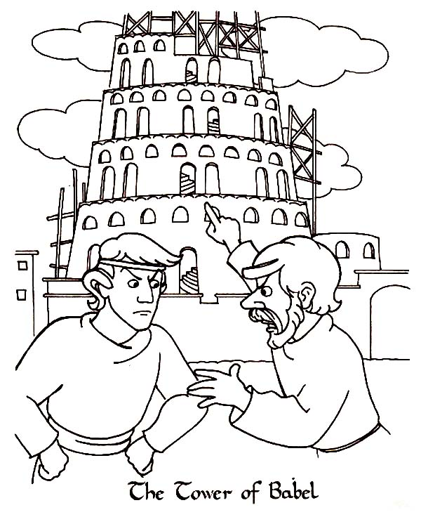 man argue in front of tower of babel page kids play color