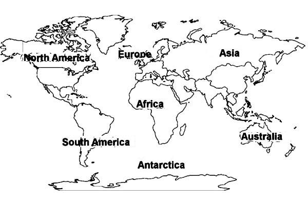 world map of all continents coloring page kids play color