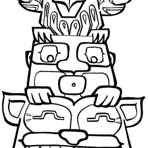 totem poles coloring page for kids kids play color