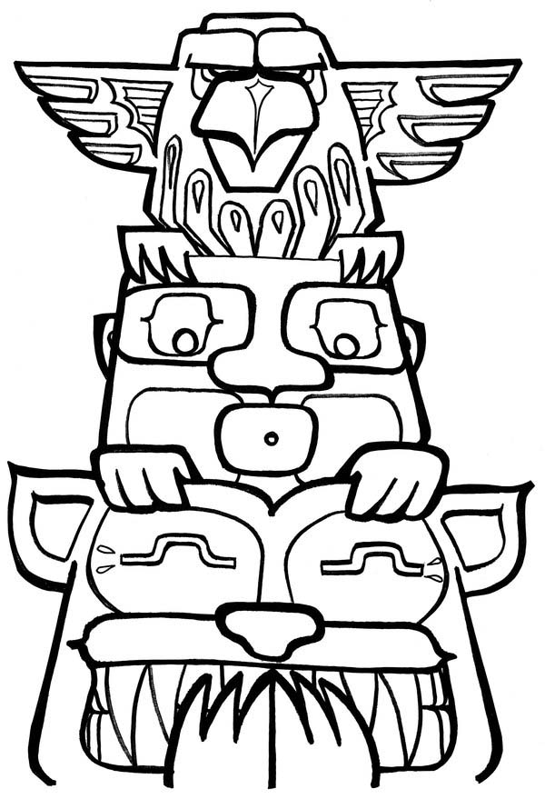 funny totem poles coloring page kids play color
