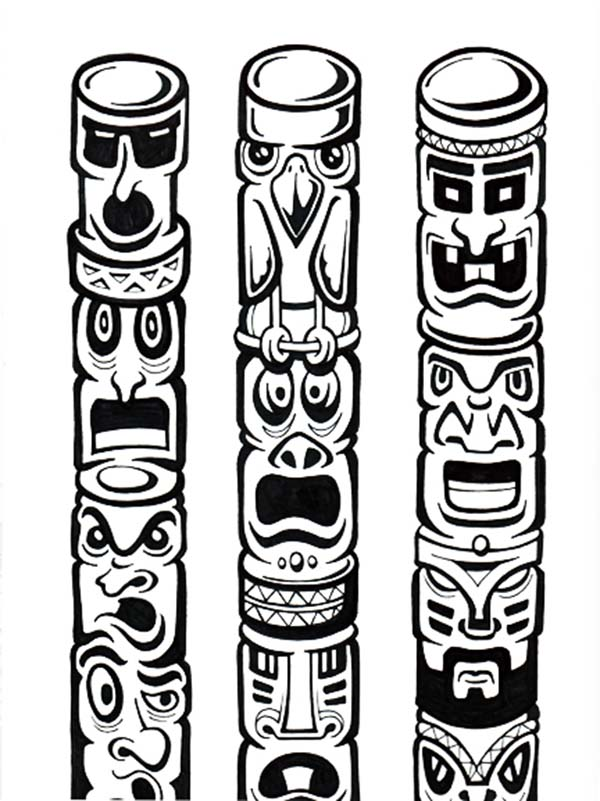 tribe history in totem poles coloring page kids play color