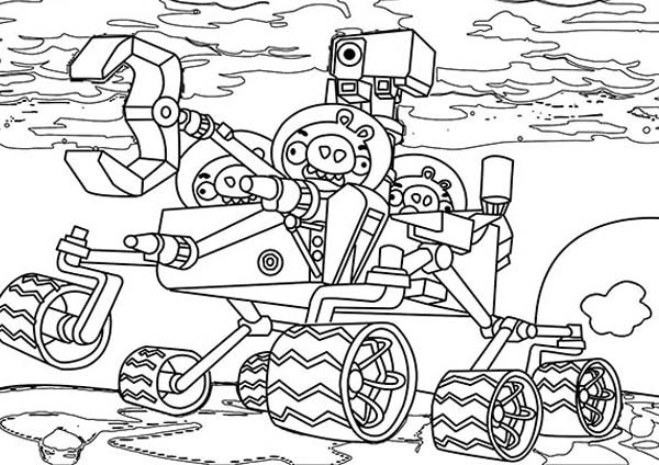 pig ride a robot in angry bird space coloring page kids play color