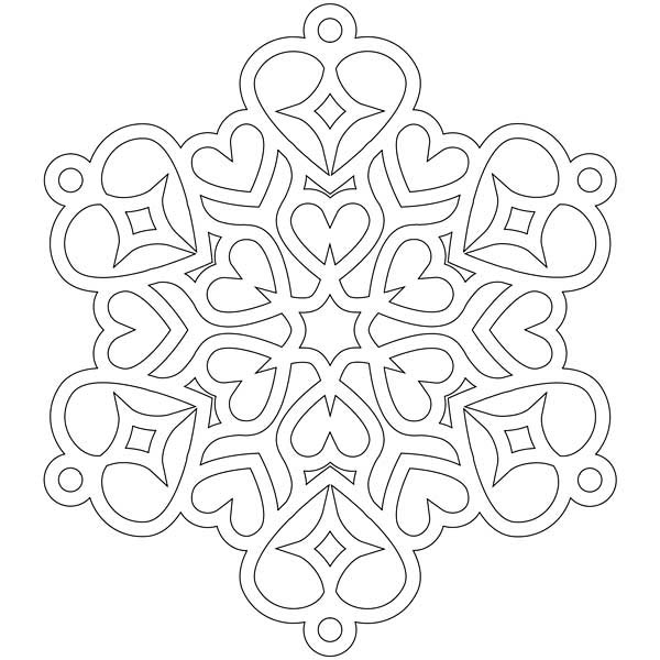 heart shaped christmas snowflakes coloring page kids play color