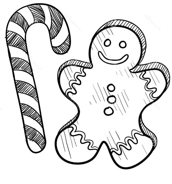 mr gingerbread men on christmas and candy cane coloring page mr