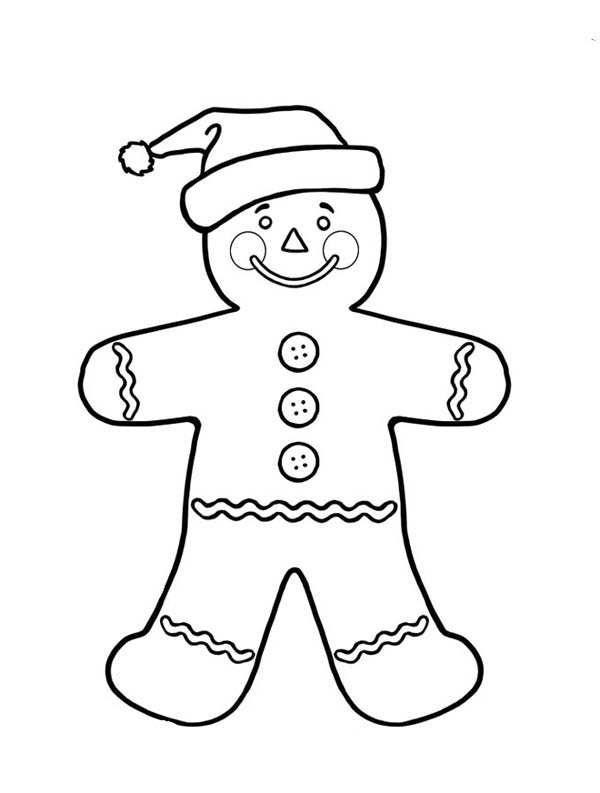 mr gingerbread men on christmas as santa claus coloring page