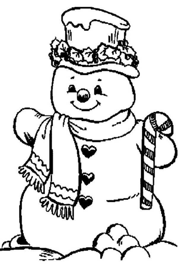 mr snowman on christmas and candy cane coloring page kids play color