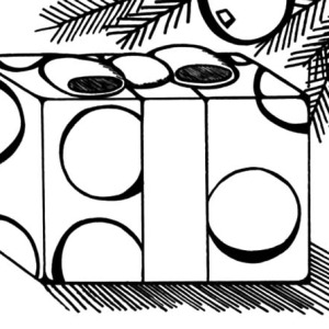 christmas presents under mistletoe coloring pages