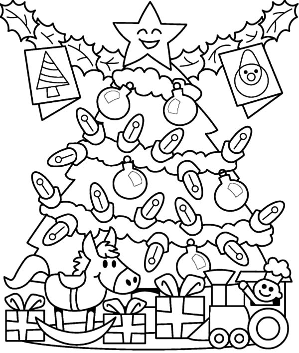 christmas presents for kids under christmas tree coloring pages