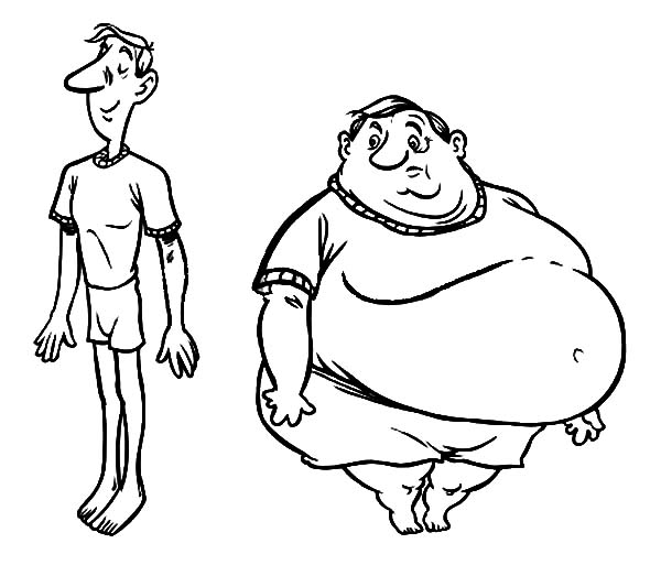 fat boy fat boy and slim boy coloring pages