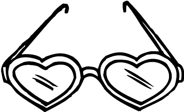 heart shaped eyeglasses coloring pages kids play color
