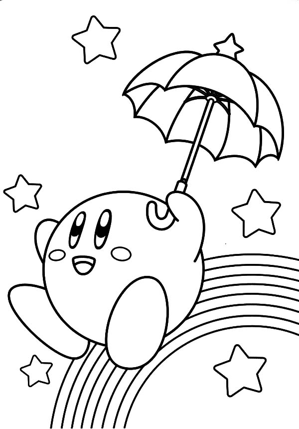 kirby slide over rainbow coloring pages kids play color